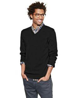 Merino V Neck Sweater - true black from Gap on Catalog Spree, my personal digital mall.