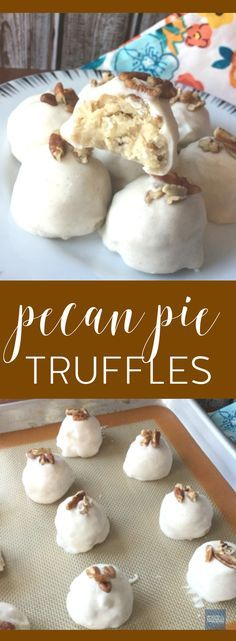 Pecan Pie Truffles Recipe - like pecan pie, but in a cake pop form! Add this to your Thanksgiving and Holiday Recipes board!
