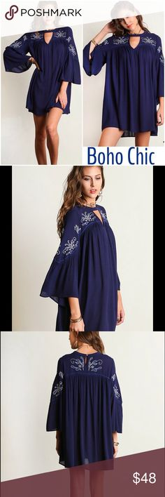 New Arrival Boho Chic Navy Keyhole tunic Dress Embroidered details adorn this beautiful navy blue boho tunic dress with key hole details. Loose bodice light weight . Beautiful flowy style to add to your wardrobe . Nwt Please use Poshmark feature to buy size directly here or add to bundle for a discount .striped Vivacouture Dresses