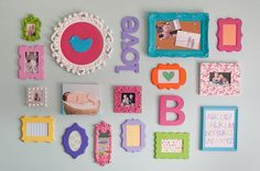 so fun! Wall of cute assorted funky frames for little girls room