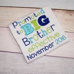 Promoted to Big Brother Shirt -Appliqué Pregnancy Announcement Shirt - Baby Announcement - Pregnancy Reveal Sibling Shirt Big Bro effective