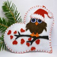 Owl on a Heart / Christmas Ornament / by ImaginaryHandicraft