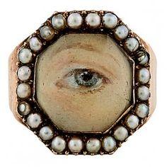 Georgian Period Lover's Eye gentleman's ring face : Lot 14