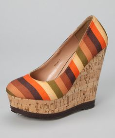 Take a look at this Brown Stripe Cork Wedge by Nicole Simpson on #zulily today!