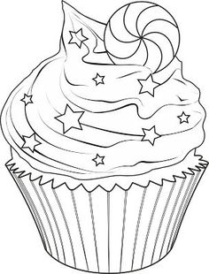 Cute Drawings: Cupcakes, ice creams and cakes (Cupcakes, ice creams and cakes) Cupcake Coloring Pages, Coloring Book Pages, Printable Coloring Pages, Coloring Sheets, Applique Patterns, Digital Stamps, Coloring Pages For Kids, Cute Drawings, Mandala