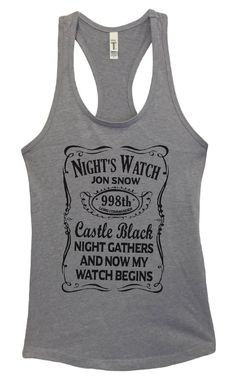 Womens Night's Watch Jon Snow Grapahic Design Fitted Tank Top - Ideal1766