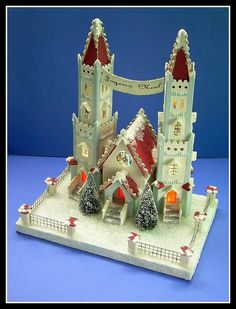 Joyeux Noel Christmas Cathedral this can't be a handmade paper church? Merry Christmas Banner, Merry Little Christmas, Christmas Paper, A Christmas Story, Christmas Home, Vintage Christmas, Christmas Crafts, Christmas Glitter, Putz Houses