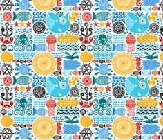 sea pattern fabric by dennisthebadger on Spoonflower - custom fabric