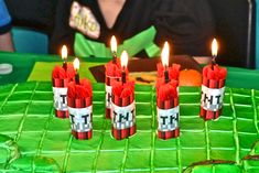 Minecraft Birthday Party Cake Candles