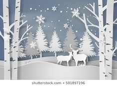 Deer in forest with snow in christmas and winter season,paper art and digital craft style. Diy Christmas Paper Decorations, Winter Wonderland Decorations, Christmas Paper Crafts, Winter Wonderland Christmas, 3d Christmas, Christmas Window Display Retail, Kirigami, Diy Weihnachten, Paper Art