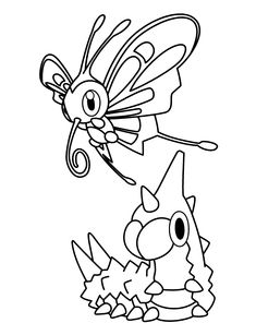 Wurmple And Beautifly Pokemon Coloring Page Free POKEMON BATTLES Pages Available For Printing Or Online