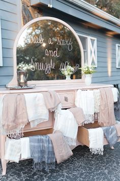 Blankets for an outdoor ceremony #wedding