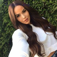155.00$  Buy now - http://aliokb.worldwells.pw/go.php?t=32572469204 - Peruvian Virgin hair Middle part Body wave Full lace human hair wigs with bangs #4 color Long hair wavy Lace front wig Ponytail