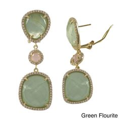 Luxiro Gold over Sterling Silver Gemstone Dangle Earrings