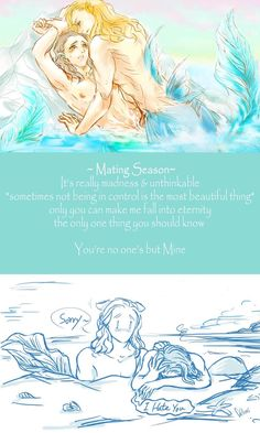MerThorki- MatingSeason by AviHistten on deviantART Artist's comment: Loki: No! I told you billion times~I- Won't -Get -Pregnant -!  why you do not understand *tears*  Thor: I give you my word I'll protect you and take care of you( until you have our babies)  Loki: I hate you…  Thor: o~k~ Love you too ❤   Loki: *|||onz*  (let me die…please)
