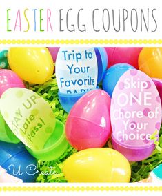 Easter Egg coupons for the kids. They'll get some treats of course, but cut down on the candy and give them some coupons that would last beyond Easter. There are 16 different Easter egg coupon printables. Easter Hunt, Easter Party, Easter 2018, Easter Brunch, Easter Snacks, Hoppy Easter, Easter Eggs, Somebunny Loves You, Easter Printables
