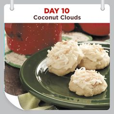25 Days of Christmas Cheer :: Day 10 :: Coconut Clouds Recipe  #cookies