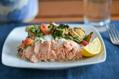 bake salmon with spinach