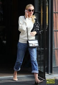 Diane Kruger wearing 3.1 Phillip Lim Devon d'Orsay Flats, Hermes Constance Bag and Miu Miu Catwalk Sunglasses Black.