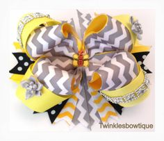 Chevron hairbow yellow and gray chevron girls by TwinklesBowtique, $10.00