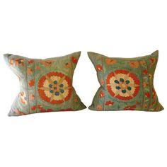 Pair of Blue Suzani Pillows