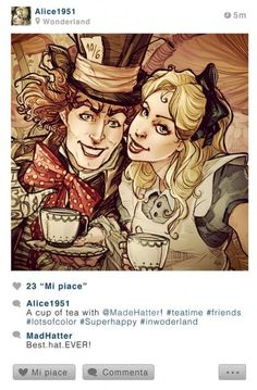 Alice ed il cappellaio matto #SelfieDisney #SimonaBonafini #illustrazioni #Qriosando