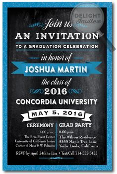 2016 Chalkboard Graduation Invitation. 2016 Grad Party invitations. Professionally printed graduation party invitations with envelopes. 2016 Graduation announcements