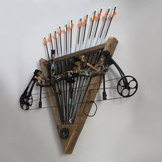 Barn Wood Bow & Arrow Rack for Archery by WoodlandShoppe on Etsy