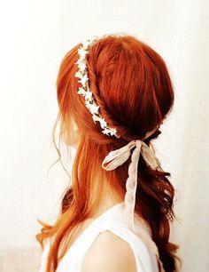 Bridal ivory flower crown. vintage lace headpiece, wedding hair accessories - heirloom