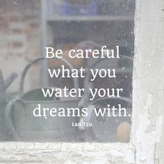 """Be careful what you water your dreams with. Water them with worry and fear and you will produce weeds that choke the life from your dream. Water them with optimism and solutions and you will culti..."