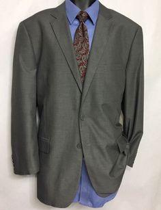 CARLO LUSSO Mens Gray Suit Jacket Size 46R | 2 Button Sport Coat #CarloLusso #TwoButton