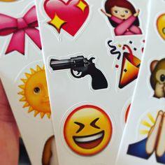 #only90skidswillremember [photo of a closeup of a sticker of the gun emoji]
