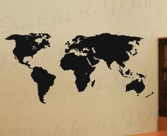 """World Map Wall Mural Decal - Vinyl Graphic Earth - Sticker Art Decor Large (40""""x18""""/100cm x 46cm) Decoration Sign: Amazon.ca: Home & Kitchen"""