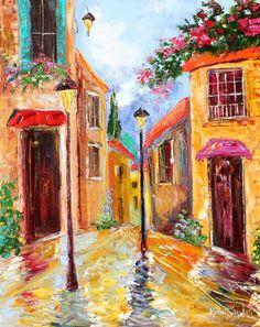 Original oil painting ITALY Village Landscape palette knife Karensfineart