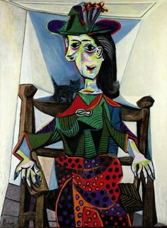 Dora Maar au Chat by Pablo Picasso is the most expensive painting by the artist. It represents one of his lovers, Dora Maar sitting in a char with a cat over her shoulder. Portrait Picasso, Pablo Picasso Artwork, Art Picasso, Picasso Paintings, Picasso Style, Nude Portrait, Gustav Klimt, Henri Matisse, Georges Braque