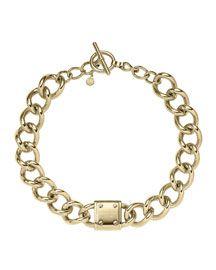 Y26ZV Michael Kors Logo-Plaque Curb-Chain Necklace, Golden