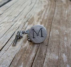 Custom Hand Stamped Tie Tack Whimsical Font by KeysAndMemories (Accessories, Men, Tie Tack, tie tack, personalized, initial, bar and chain, alphabet, hand stamped, a b c d e f g h i, j k l m n o p q r, s t u v w x y z, wedding, silver, groom, best man)