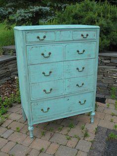 Chic and Shabby Beachy Aqua Tall Dresser / Chest of Drawers. $495.00, via Etsy.