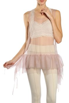 NWT A'Reve Sheer Overlay Tulle Accent Tank Cami Undershirt Taupe Sm Med Lg  | eBay