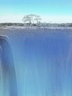 Elevation Art Print  landscape, waterfall, water, tree, field, nature, grass, cliff, mountain, sky, blue, green,