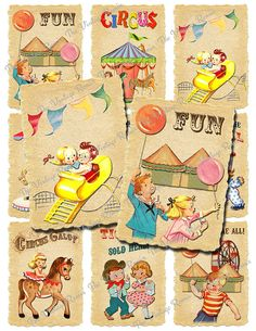 INSTANT DOWNLOAD, Printable Circus Carnival Tags, Digital Collage Sheet, Retro Vintage, 2.5x3.5 atc images