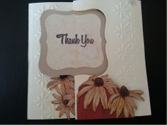 www.fb.com/susansdesignstudio  This is a 'flip' Thank You card. When pulled, the Thank You turns into the inside sentiment. Finished card is 5 x 5 inches. $5.00 Cdn. Thank You 1