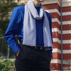 Bufanda hombre edición limitada, pieza única Plaid Scarf, Fashion, Geometric Prints, Scarves, Sustainable Fashion, Elegant, Men, Moda, Fashion Styles