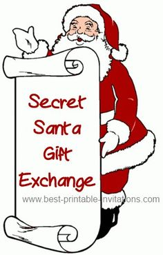 Secret Santa invitations perfect for your gift exchange or party. Free to print. 90th Birthday Invitations, Christmas Party Invitations, Invites, Secret Santa Invitation, Wedding Invitation Wording Informal, Santa Mailbox, Secret Santa Gift Exchange, Printable Invitations, Christmas Stuff