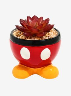 Have all the fun of Mickey Mouse without the hassle of taking care of a plant! This faux succulent sits in a planter modeled after Mickey's famous red shorts and yellow shoes. A BoxLunch Exclusive! Disney Mickey Mouse, Cocina Mickey Mouse, Mickey Mouse Gloves, Mickey Mouse Kitchen, Disney Pixar Up, Mickey Mouse House, Minnie, Faux Succulents, Succulent Pots