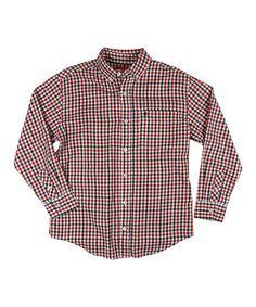 Look at this #zulilyfind! Red Gingham Button-Up - Boys by IZOD #zulilyfinds