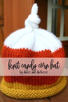 Use a simple knit baby hat pattern to create a candy corn knit hat for a little one to wear to the pumpkin patch or other fall activities! Fall Knitting, Baby Hats Knitting, Knitting For Kids, Knitting Projects, Knitted Hats, Sewing Projects, Baby Hat Patterns, Knitting Patterns, Crocheting Patterns