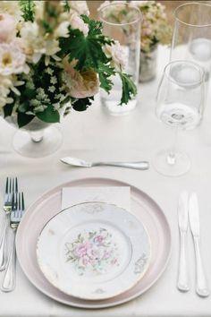 Blush Dinner Plate + Vintage Floral Plate + Silver Flatware by Set Maui wedding inspiration