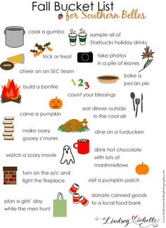 Fall bucket List - definitely marrying a man who doesn't hunt though. Never thought I'd say that.