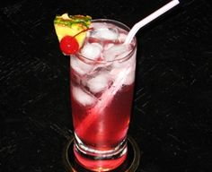 Miami Iced Tea (5 oz. Vodka .5 oz. Rum (Light) .5 oz. Gin .5 oz.Tequila .5 oz. Peach Schnapps 1 oz. Sour Mix 2 oz. Cranberry Juice 2oz. 7-Up Cherry and/or Pineapple Wedge to garnish)
